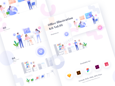 Full Preview Office Illustration Kit Vol.01 - Noansa.co