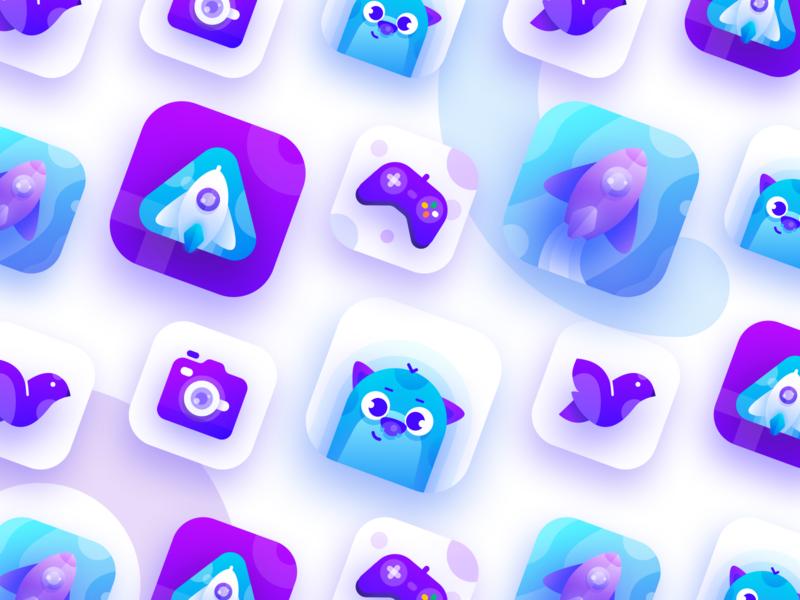 Purple & Blue App Icon Exploration application noansa game icon logo vector gradient purple spaceship rocket cute app ui app icon ui design character illustration