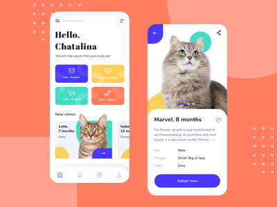 Animal Adopt Apps noansa mobile app mobile ui adoption apps design shelter cat animal adopt home apps ui
