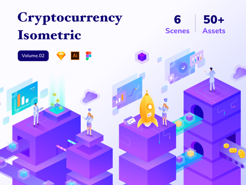 Cryptocurrency Isometric Vol.02 isometric design cloud chart money bitcoin ui kit launch cryptocurrency isometric gradient web design character illustration