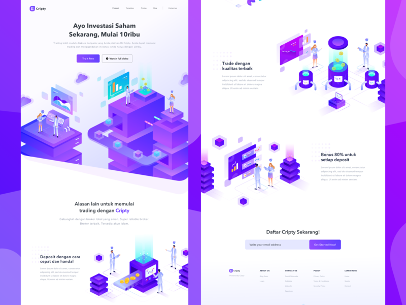 Cryptocurrency Website ethereum bitcoin isometric cryptocurrency illustration landing page ui gradient web