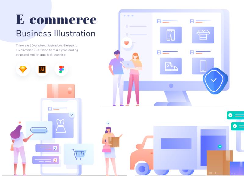 E-commerce Business Illustration Vol.01 delivery kit buy shopping e-commerce flat noansa flatdesign landing gradient web ui design character illustration