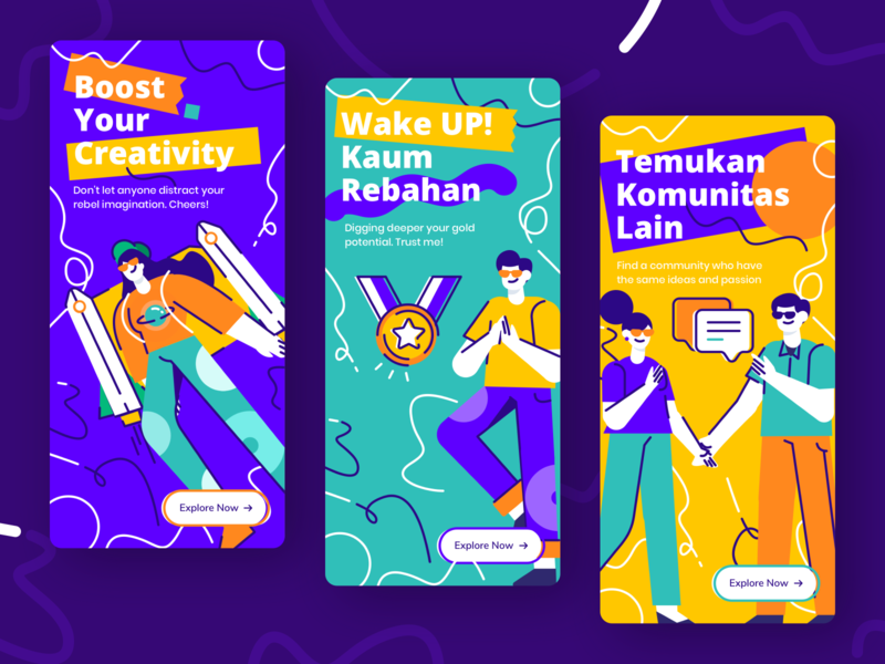 Community On-boarding UI Apps friends boost apps app design events event rocket chat youth community teamwork on boarding ui character design illustration