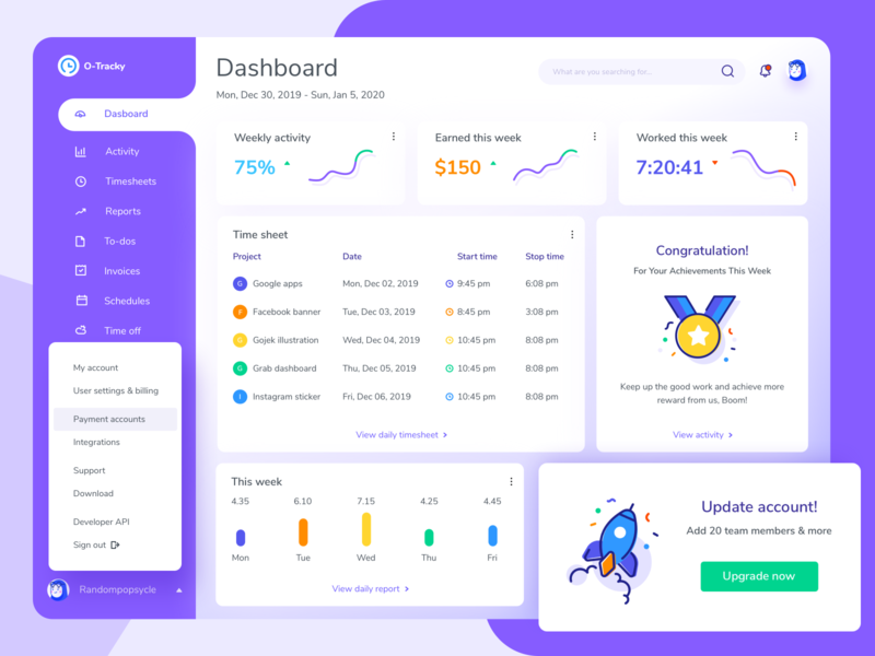 Time Tracking & Productivity Monitoring Tool chart income analitycs statistics ux ui time tracking project management invoice activity accounting time tracker web design