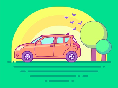 In love with the Swift respect love sunrays design simple illustration trees car swift