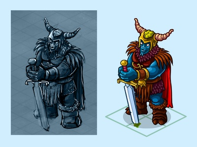 Ice Walker knight. dead monster illustration 2d work flow concept art lord demon game character