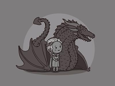 Mother of Dragons character gameofthrones illustration icon dragon khaleesi daenerys got cute queen animation
