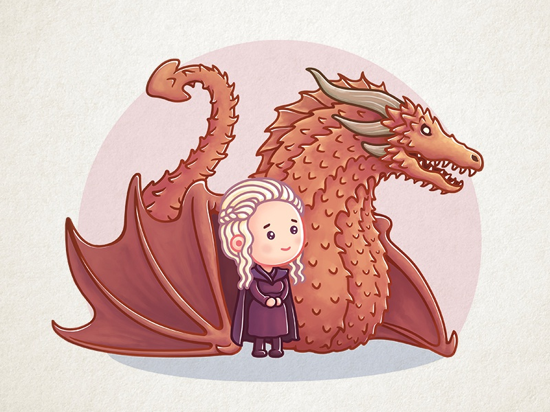 Dragon Queen game-of-thrones khaleesi illustration icon got dragon daenerys cute gameofthrones character animation