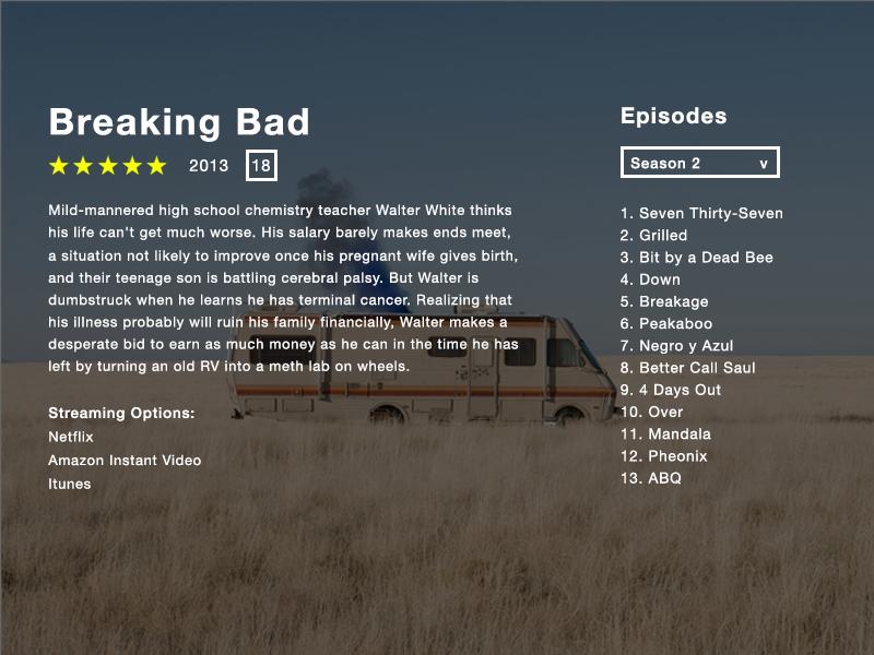 TV App - Day 025 #dailui steaming episode breakingbad discription series app tv ux ui dailyui
