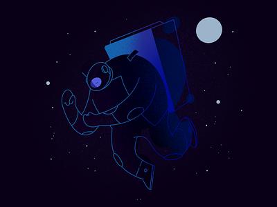 Chubby Astrounaut procreate app quick sketch digital 2d character design illustration