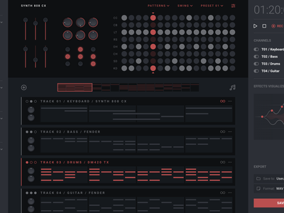 Digital Audio Workstation motion interaction design daw drum machine synth synthesizer music music app ux-ui user interface user experience