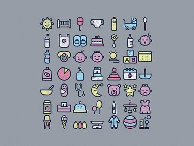 Baby pack ( 50 lineal icons ) ui webdesign style minimalism freeicons babygirl icondesigner icondesign designer illustrationoftheday baby design