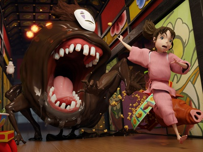 No Face chase scene from Spirited Away 3d illustration