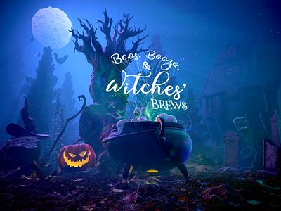 Boos, Booze, & Witches' Brews 3D Illustration invitation halloween substancedesigner modo zbrush marmoset illustration 3d