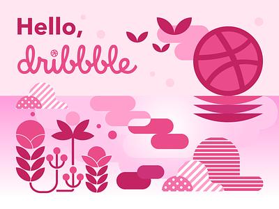 Hello Dribbble minimal website flat web vector logo design illustration