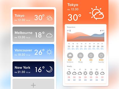 Weather forecast app UI szdp1d1d dailyui figma clean identity ios ux ui sketch mobile icon app drawing minimal flat illustrator vector illustration design