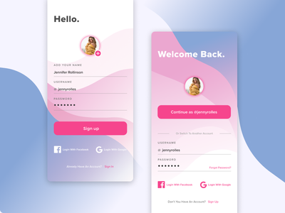 Daily UI - signup & login dailyuichallenge daily ui dailyui ux ui mobile drawing figma sketch minimal flat vector design