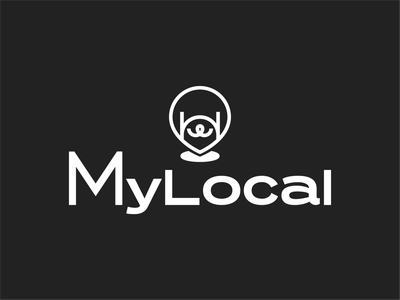 MyLocal logo pin doggy dog figma branding design brand identity brand design typogaphy uidesign uiux ui ux web branding logo illustrator illustration flat design vector