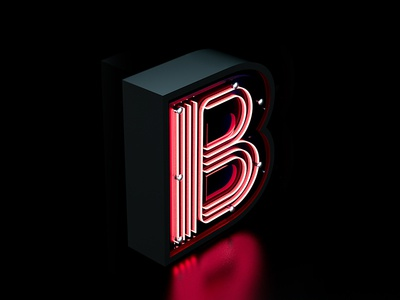 B letter 3D typography