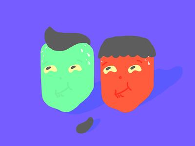 Rin & Tis book vector characters personajes ilustracion illustration color contrast