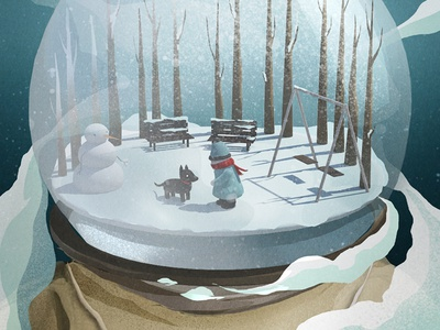 Memories illustration photoshop 3d snow astronaut snow globe winter snow man kid dog trees