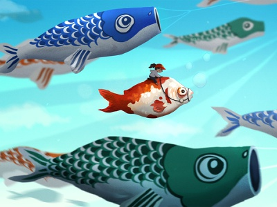 Dreaming about Koinobori bubbles kawaii race sky fish girl koinobori japan procreate drawing illustration