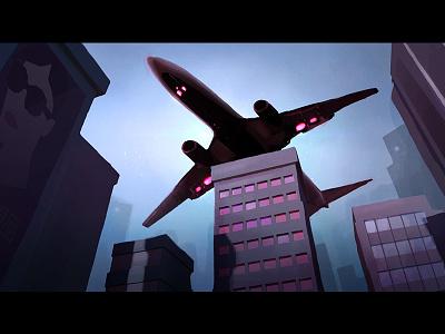 Kalopsia  city dark urban plane photoshop illustration