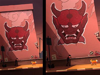 A Friendly Warning #2 boy graffiti design shiba inu japan photoshop drawing illustraion