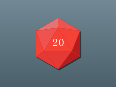 D20 20 geometry lines icosahedron red dd dice d20
