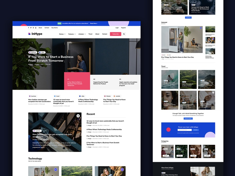 InHype template blog magazine landing wordpress corporate business webdesign minimal ux ui web