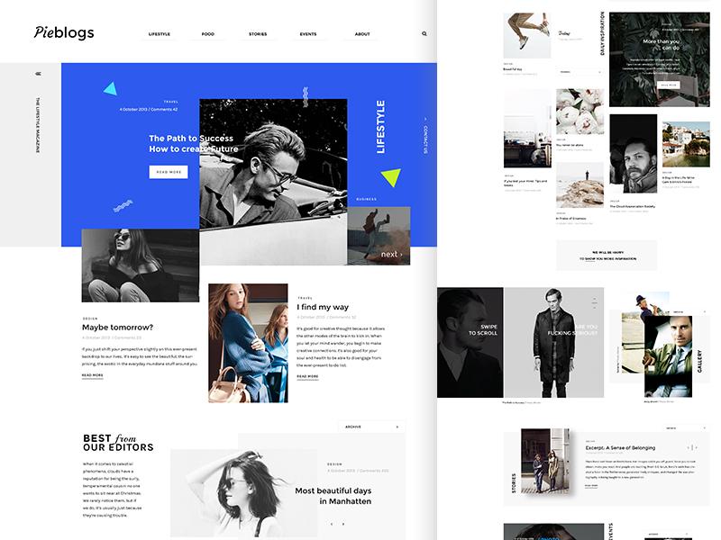 Pieblogs magazine blog ecommerce business minimal landing promo corporate ux ui webdesign web