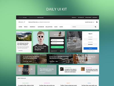 Daily UI Kit on UI8 ui8 uikit kit simple ux ui magazine corporate blog webdesign web