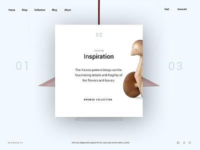 Moments agency ecommerce shop portfolio creative minimal ux ui onepage web design web