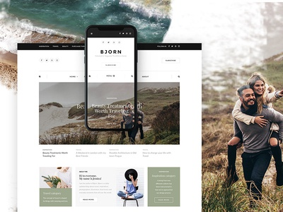 Bjorn ux ui wordpress minimal blog magazine hero blogger slider themeforest news web