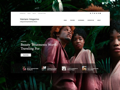 Mariann fashion wordpress minimal blog magazine hero blogger food slider themeforest news web