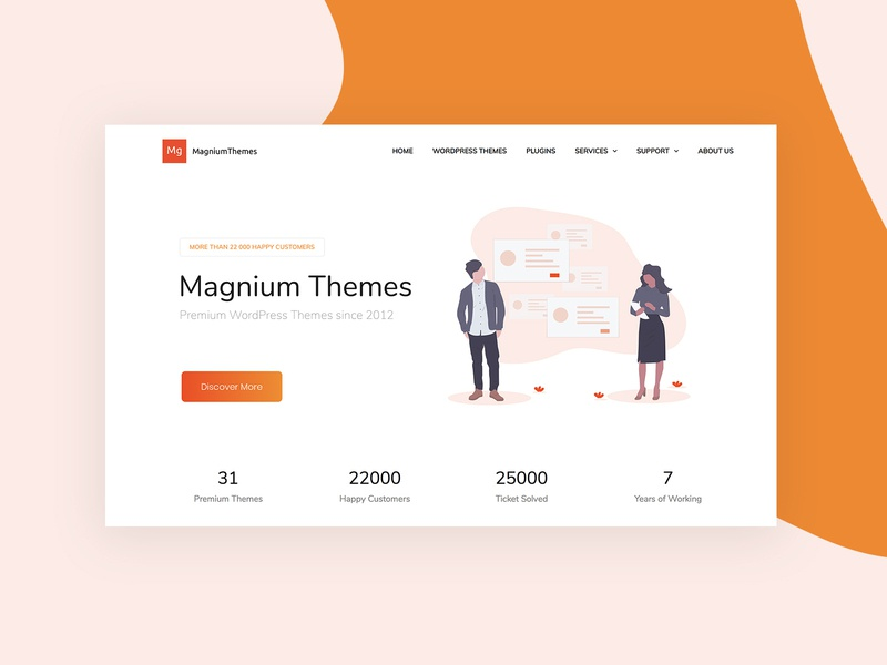 Magnium Themes illustration landing promo wordpress corporate business webdesign minimal ux ui web