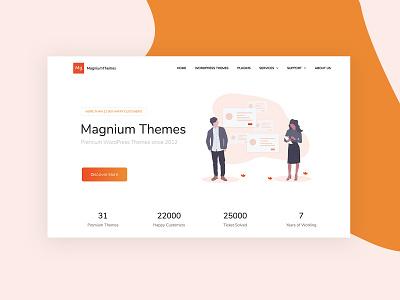 Magnium Themes illustration landing promo wordpress corporate business webdesign minimal ux ui web