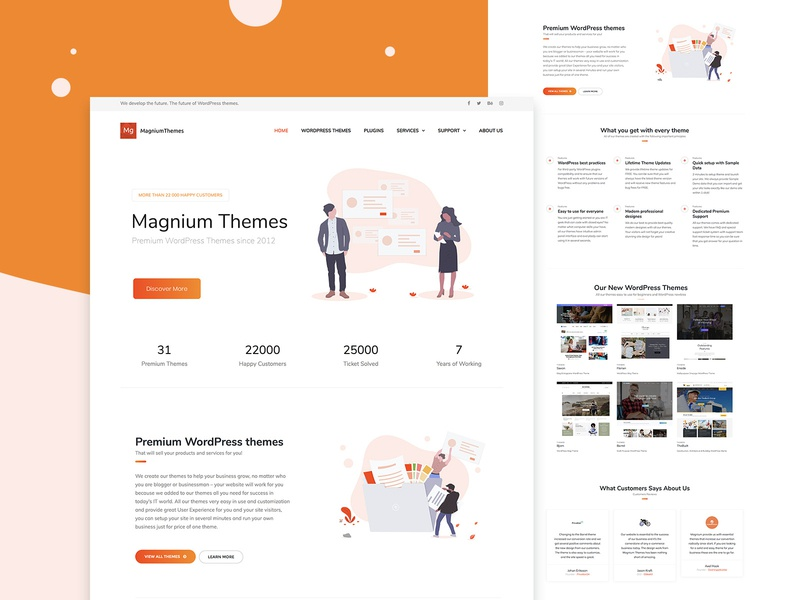 MagniumThemes illustration creative magazine landing wordpress corporate business webdesign minimal ux ui web