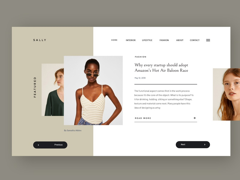 Sally fashion blogger slider hero landing design ecommerce creative blog magazine corporate business webdesign minimal ux ui web