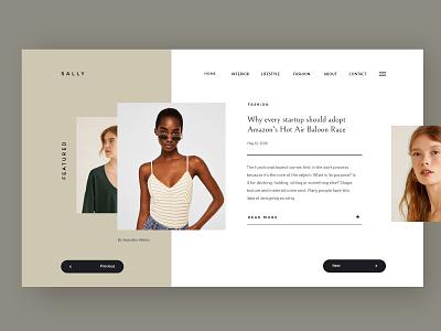 Sally fashion blogger slider hero landing design ecommerce creative blog magazine corporate business webdesign minimal ux ui web