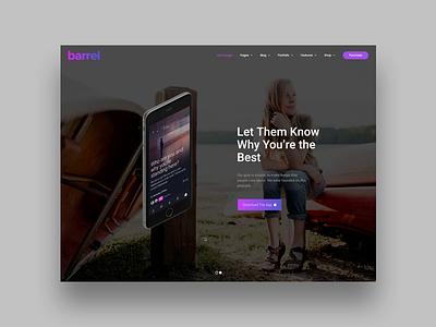 Barrel App onepage theme template app animation slider ecommerce promo themeforest landing wordpress corporate business webdesign minimal ux ui web