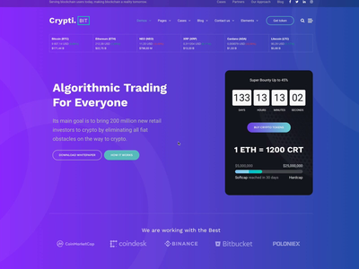 CryptiBIT technology software landing page cryptocurrency app cryptocurrency bitcoin crypto interaction animation themeforest landing wordpress corporate business webdesign ux ui web