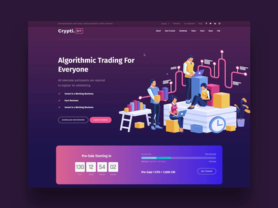 CryptiBIT color ico bitcoin app interaction animation themeforest landing wordpress corporate business webdesign ux ui web