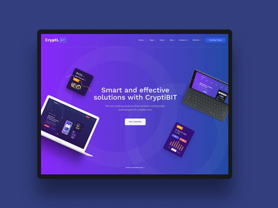CryptiBIT theme crypto wallet bitcoin crypto interaction animation themeforest landing wordpress corporate business webdesign minimal ux ui web