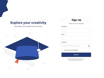 Educational Platform Sign Up Form web design xd design xddailychallenge ux website design illustration ui