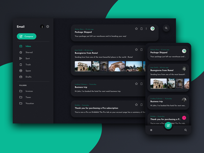 Dark Mode Email Client responsive rwd dark mode dark email design email ux product design designs design ui