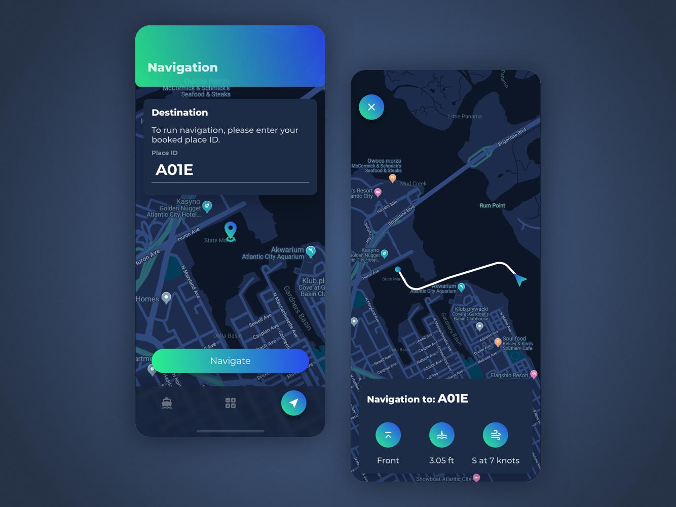 Marina navigation marina dark mode app ui
