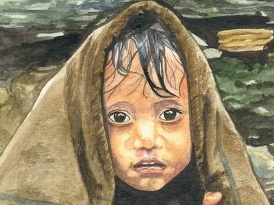 Lluvia watercolor fine arts people kid brush rain