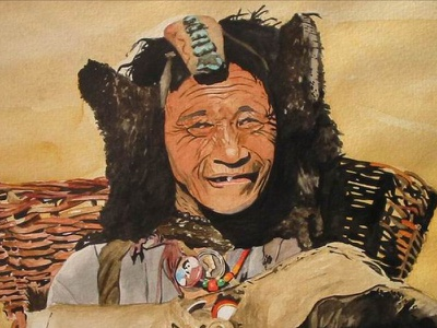 Old woman from Ladakh watercolor fine arts people old brush