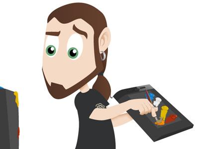 Working hard vector illustration web cartoon
